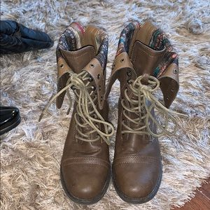 Brown and multi pattern combat boots